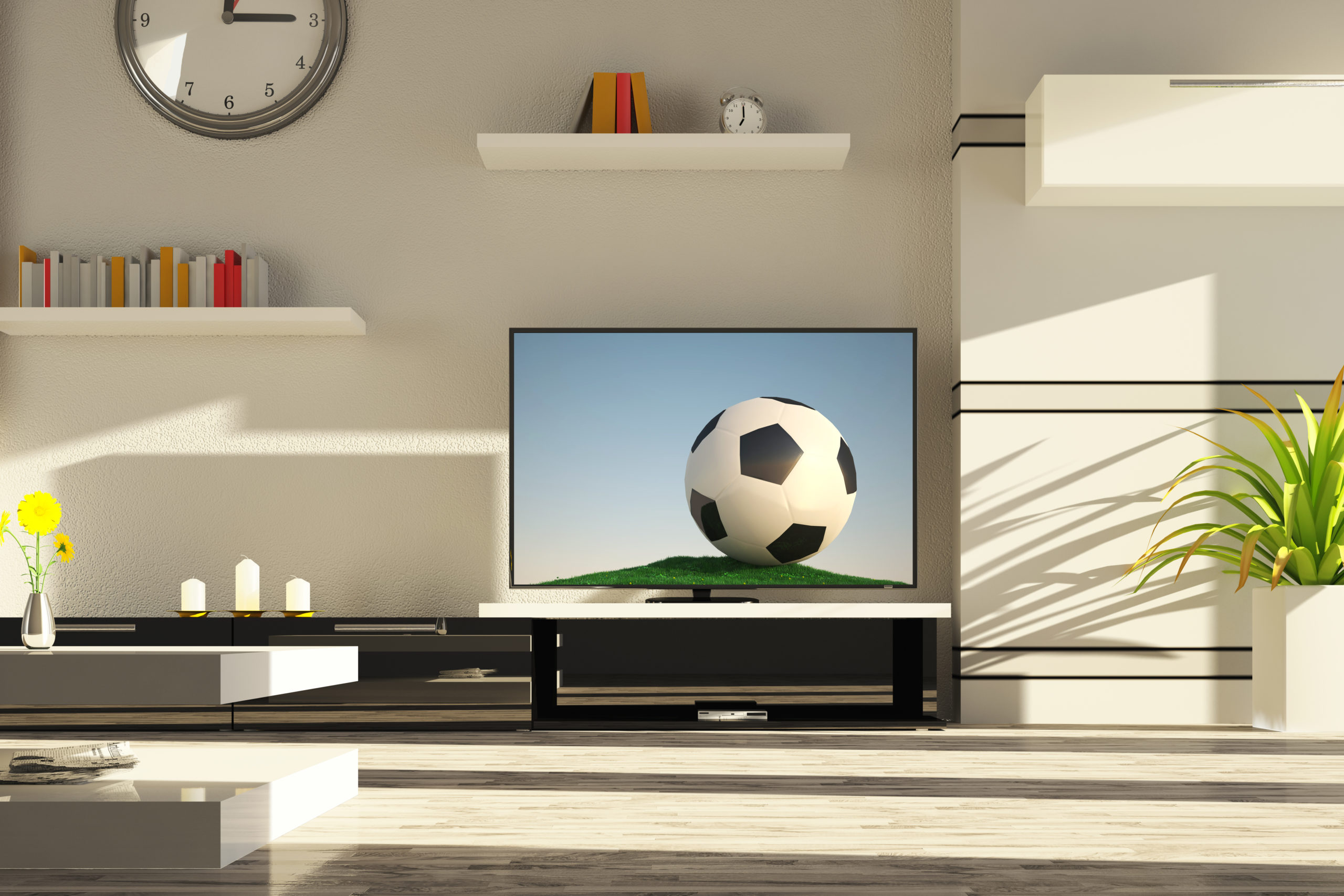 Modern Living Room with clean flatscreen TV